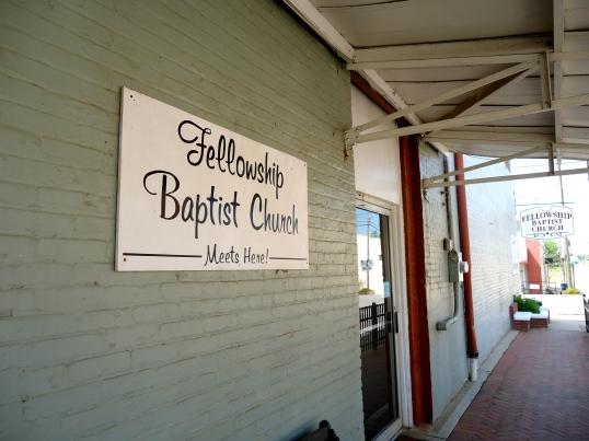 Fellowship Baptist Church Meets Here Sign